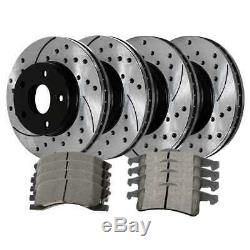 Front Rear Drilled Slotted Rotors and Ceramic Pads for 1999-2004 Grand Cherokee