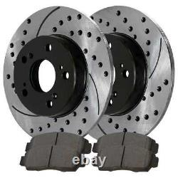 Front & Rear Performance Drilled Slotted Brake Rotors & Semi Metallic Pads Kit