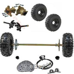 Go Kart Rear Axle Shaft Kit with Front Steering Assembly Hubs+ 4 pack of 6 Wheels