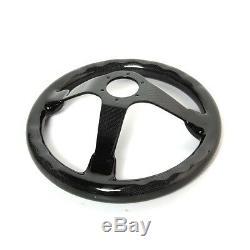 Hiwowsport Genuine Carbon Fiber Racing Steering Wheel 350mm Diameter Bolts Black