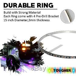 IP68 15 RGB Color Change Bright LED Wheel Ring 4pcs Rim lights Kit (Bluetooth)