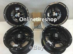 ITP SS112 Front & Rear Wheels Black 10x7 9x8 for Yamaha Banshee 4 Pack