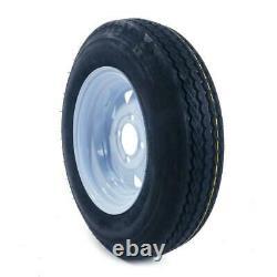 New 2 5.30-12 LRC Bias Trailer Tires on 12 4 Lug White Trailer Wheels 5.30x12
