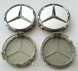 New Set Of 4 Mercedes-benz Matte Silver Wheel Center Hub Caps Emblem 75mm / 3 In