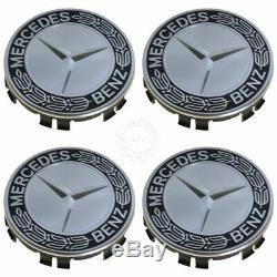 OEM Wheel Center Cap Black Laurel Wreath with Star Set of 4 for Mercedes Benz