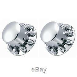 One Pair of ABS Chrome Front and Rear Wheel Axle Covers With Nut Cover 10 Lug