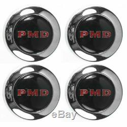 Rallye 2 Wheel Center Cap Set of 4 Black with Red PMD Logo for 67-70 Pontiac GTO