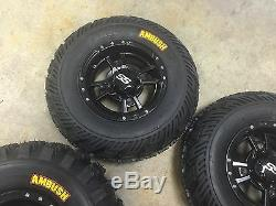 SET 4 YAMAHA RAPTOR 350 660 700 R BLACK ITP SS112 Rims & AMBUSH Tires Wheels kit