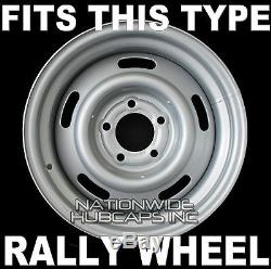 SET OF 4 Chevy GM Rally Wheel Center Hub Caps & 15X7 15 Trim Rings Beauty Rims