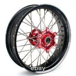 SUPERMOTO COMPLETE 17 WHEELS for Honda CR CRF 125 250 450 R/X RED HUB BLACK RIM