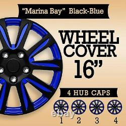 Set 4 Hubcaps 16 Wheel Cover Marina Black BLUE ABS Easy Install