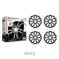 Set of 4 Hubcaps 17 SWISS DRIVE Wheel CoverSPACHROME & BLACK ABS Easy Install