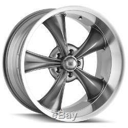 Staggered Ridler 695 Front18x8, Rear18x9.5 5x4.75 +0mm Grey Wheels Rims