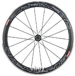 Superteam 50mm Aluminum Braking Carbon Wheelset 700C Bicycle Front&Rear Wheels