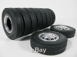 Tamiya Rc 1/14 Aluminum Front & Rear Truck Wheel Rim Tire Semi Tractor Trailer