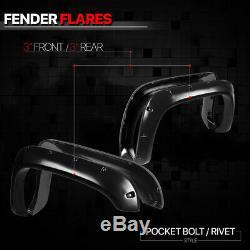 Textured Black Pocket Bolt/Rivet Fender Flares Wheel Cover for 94-02 Dodge Ram